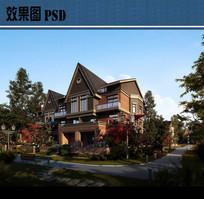 花园洋房别墅建筑效果图PSD