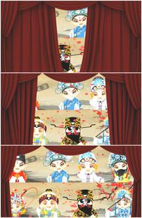 京剧唱戏脸谱舞台幕布拉开视频