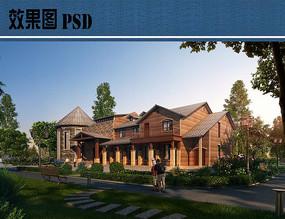 欧式别墅建筑景观效果图PSD