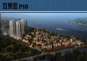 小洋房住宅区效果图PSD