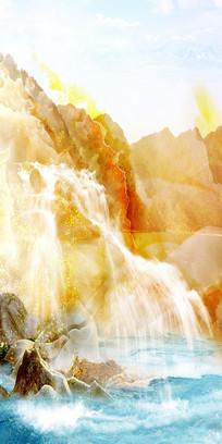 流水生财天然大理石纹玄关设计
