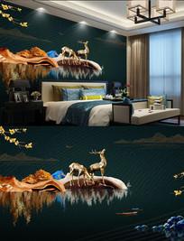 奢华新中式麋鹿背景墙