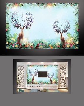 唯美清新麋鹿电视背景墙