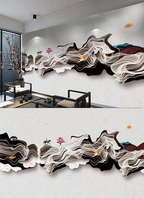 禅意新中式3D背景墙
