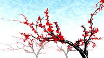 中国风水墨3D梅花循环动画