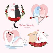 杯子动物情侣插图
