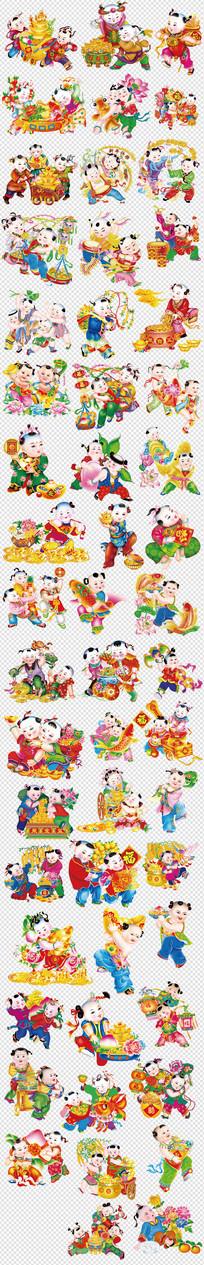 春节新年福娃金元宝聚宝盆素材
