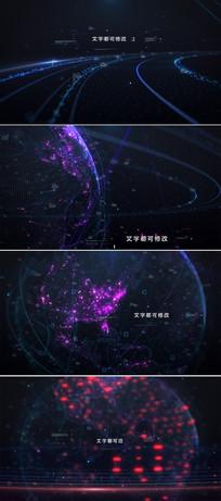大气科技地球标题字幕片头模板 aep