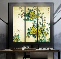 新中式水墨花卉手绘装饰画