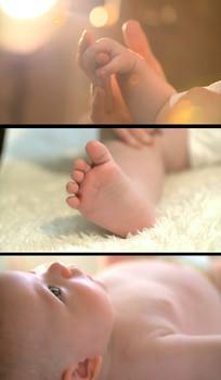 婴儿特写实拍视频素材