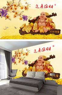 招财进宝彩雕玉兰背景墙