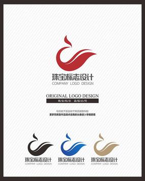 简约凤凰珠宝玉器标志设计