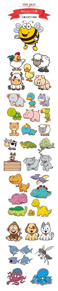 卡通小动物元素素材