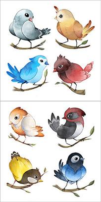 水彩鸟图片贴纸图案