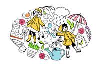 雨天的女孩插画