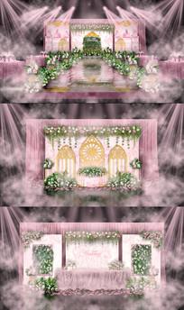 温馨粉森林主题婚礼背景PSD设计
