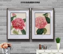 纯手绘茶花客厅装饰画