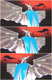 空军胸标立体标志飞机特写视频