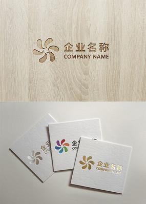 六边形彩色logo设计