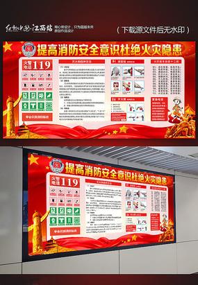 消防安全意识宣传展板模板