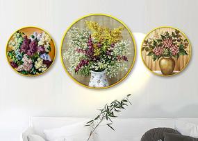 新中式油画花卉酒店装饰画