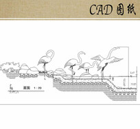仙鹤雕塑立面CAD