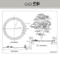 圆形树池坐凳详图 CAD
