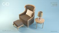 单人组合沙发模型