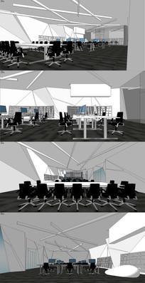现代办公概念设计SU模型