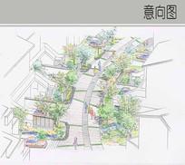 别墅区路间景观手绘图