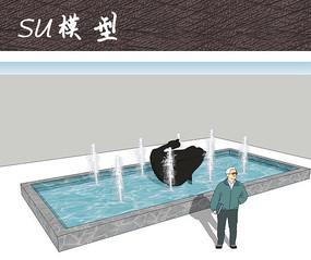 雕塑水池SU skp