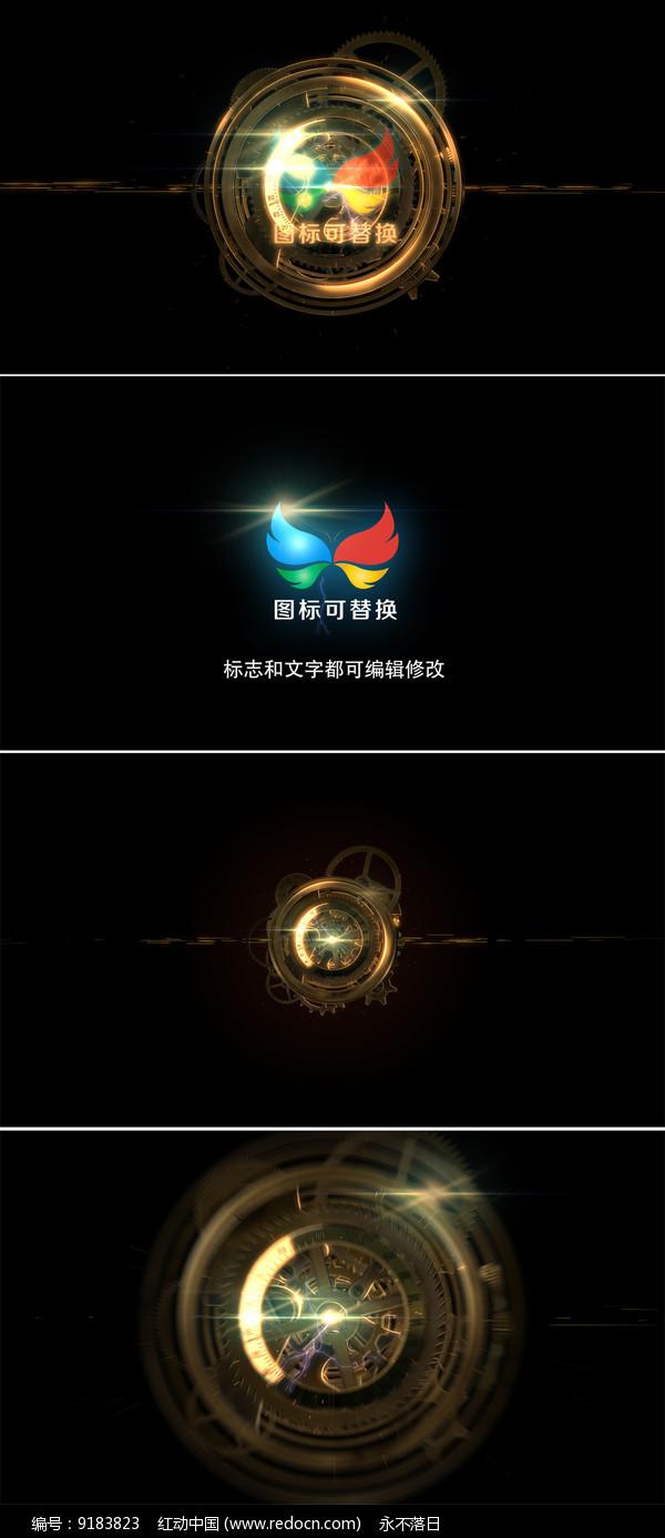 工业齿轮logo演绎ae模板图片
