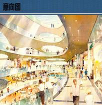 购物中心室内手绘效果图