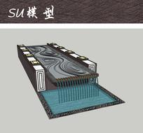 广场跌水景观SU skp