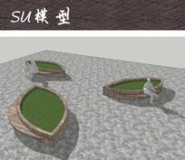 广场树叶造型树池坐凳 skp