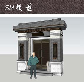 古代中式住宅大门SU