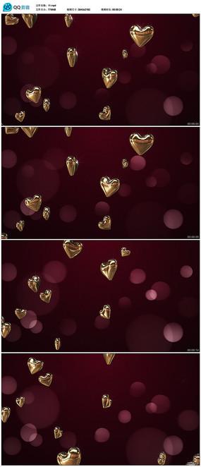 金色爱心背景视频