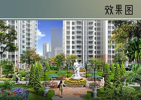 居住区中心花园效果图