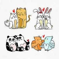 卡通动物情侣手机插画