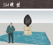 孔雀雕塑喷泉水景 skp