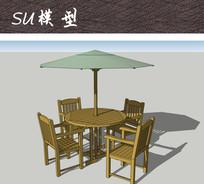 木质室外桌椅SU skp