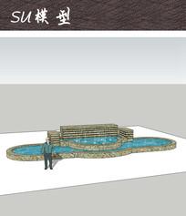 商业广场喷泉水景 skp