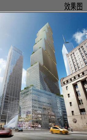 世贸大楼仰视效果图
