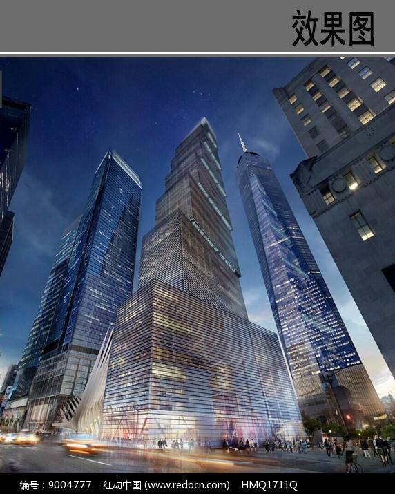世贸大楼仰视夜景效果图图片