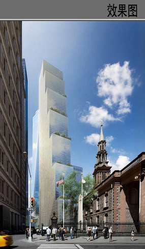 世贸中心建筑远看效果图