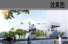 私立学校建筑外观效果图