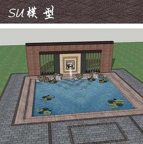 庭院中式跌水水池 skp
