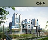 现代玻璃建筑效果图 JPG