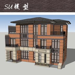 新中式别墅建筑SU
