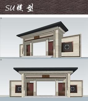 新中式建筑大门su图片